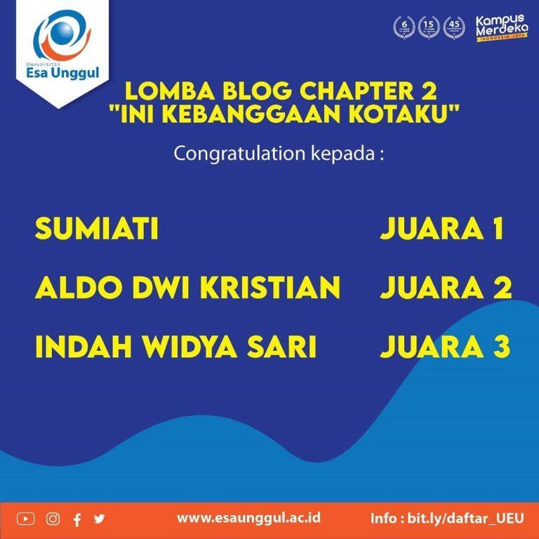 SMA Negeri 10 Purworejo Berhasil Meraih Kejuaraan Lomba Blog yang Diselenggarakan oleh Universitas Esa Unggul